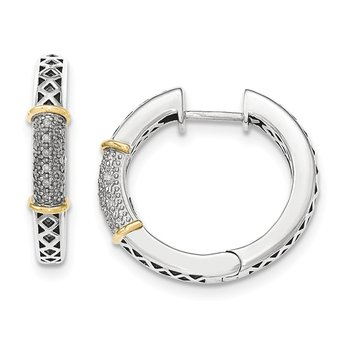 Sterling Silver w/14k Diamond Hinged Hoop Earrings