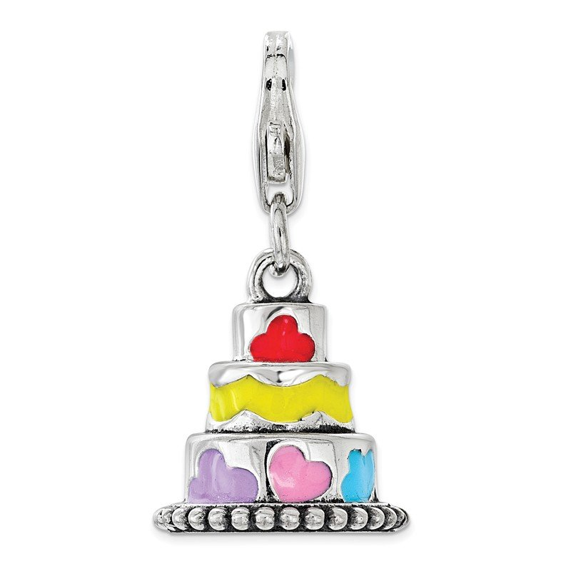 Quality Gold Sterling Silver Multi-color Enameled Cake with Lobster Clasp Charm
