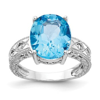 14k White Gold 12x10mm Oval Blue Topaz AA Diamond ring