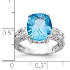 Quality Gold 14k White Gold 12x10mm Oval Blue Topaz AA Diamond ring