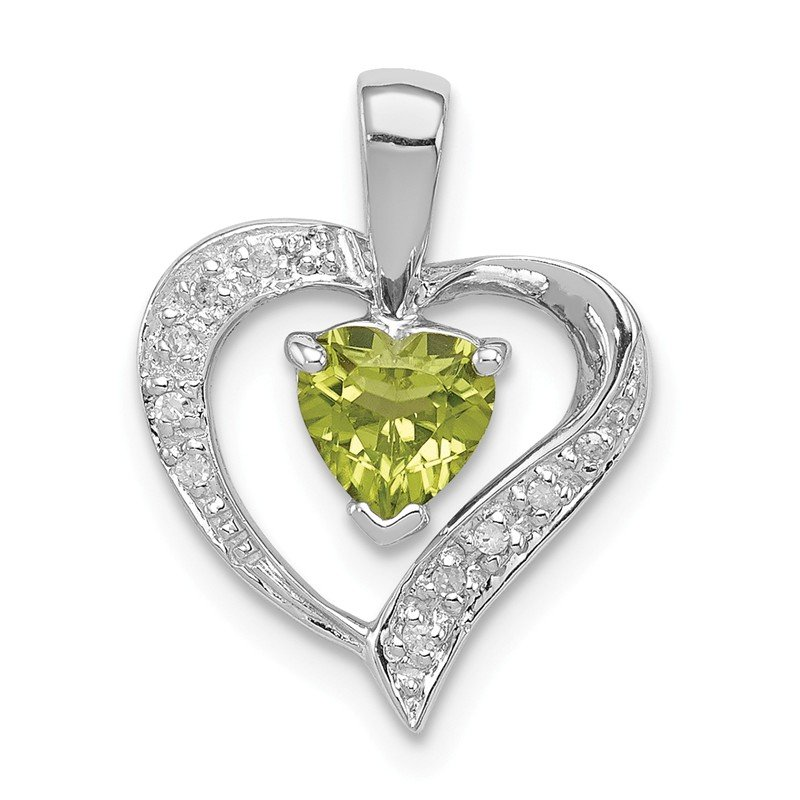 Quality Gold Sterling Silver Rhodium Heart Peridot & Diamond Heart Pendant