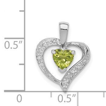 Sterling Silver Rhodium Heart Peridot & Diamond Heart Pendant