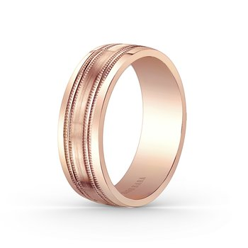 Milgrain Precision Mens Wedding Band 7mm