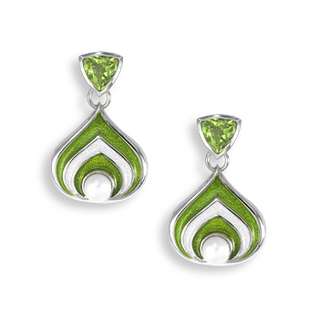 Sterling Silver Stud Earrings-Teardrop-Green-Peridot-Pearl