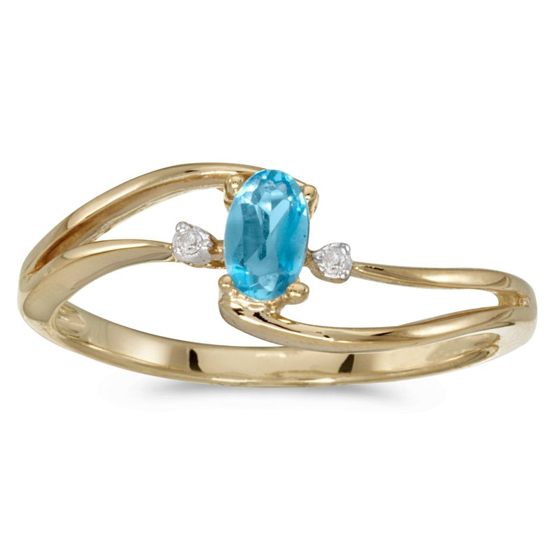 Color Merchants 14k Yellow Gold Oval Blue Topaz And Diamond Wave Ring