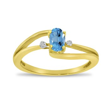 14k Yellow Gold Oval Blue Topaz And Diamond Wave Ring