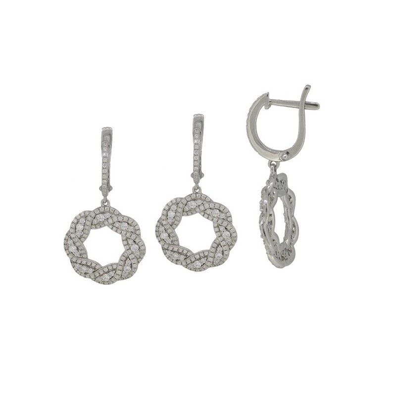 S. Kashi  & Sons White Gold Diamond Hoop Earring