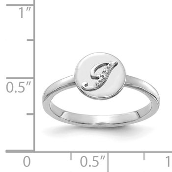 14k White Gold Diamond Initial J Ring