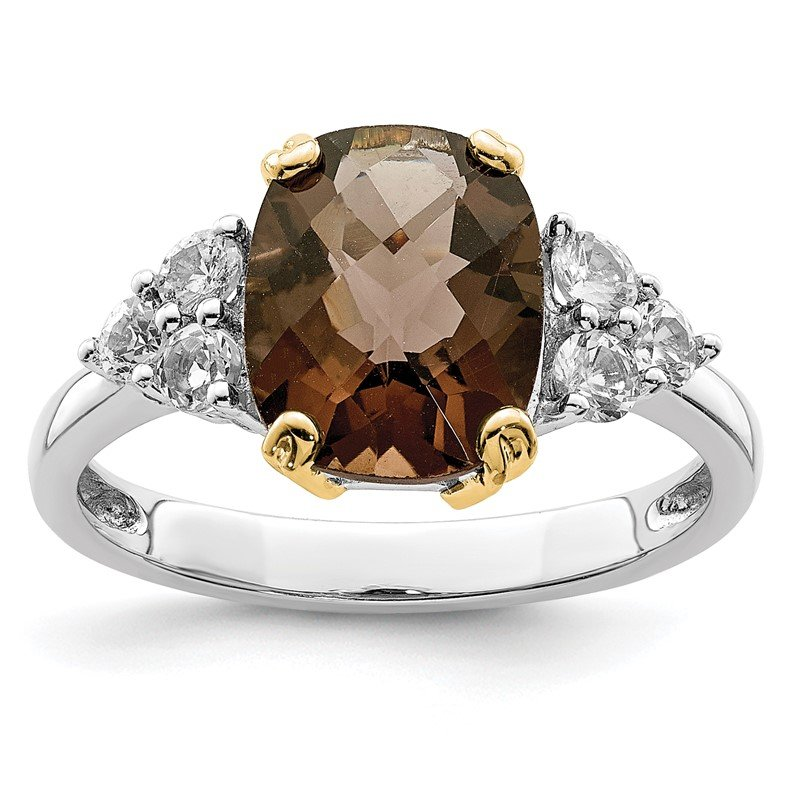 Quality Gold SS & 14k True Two-tone Accent Smoky Quartz and White Topaz Ring