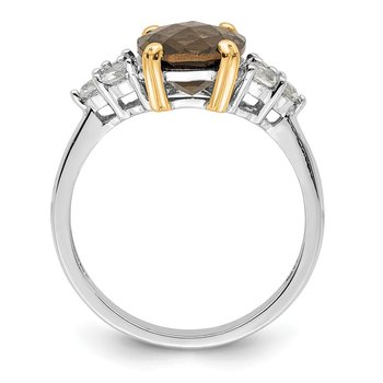 SS & 14k True Two-tone Accent Smoky Quartz and White Topaz Ring