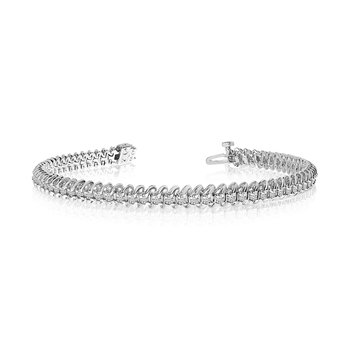"14K White Gold Soft ""S"" Illusion Diamond Bracelet"