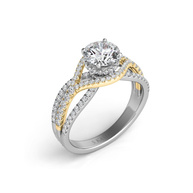 MAZZARESE Bridal White & Yellow Gold Engagement Ring