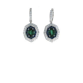 18KT GOLD EARRINGS WITH DIAMONDS, GREEN TOURMALINE AND BLUE SAPPHIRE