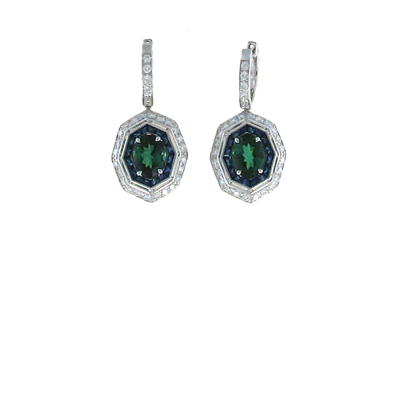 Roberto Coin 18Kt Gold Earrings With Diamonds, Green Tourmaline And Blue Sapphire