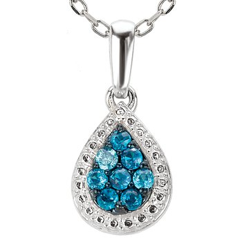Teardrop Blue Diamond Pendant