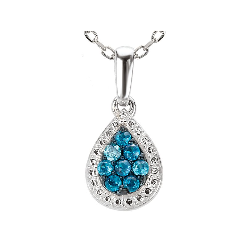 Tesoro Teardrop Blue Diamond Pendant