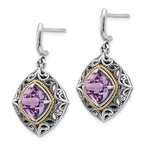 Quality Gold Sterling Silver w/14k Amethyst Earrings
