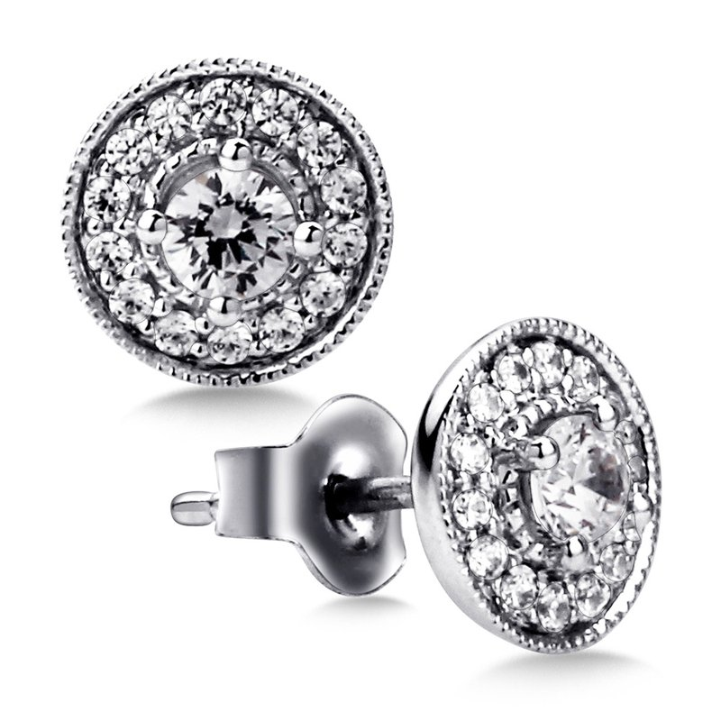 SDC Creations Pave set Diamond Round Halo Earrings, 14k White Gold  (1/2 ct. tw.) GH/SI1-SI2