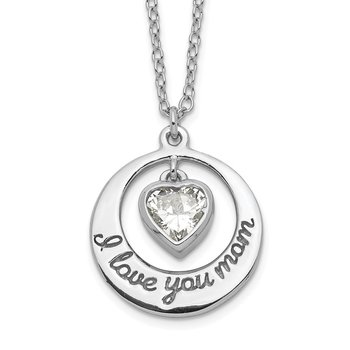 Sterling Silver Rhod-pltd CZ Heart LOVE YOU MOM w/2in ext Necklace