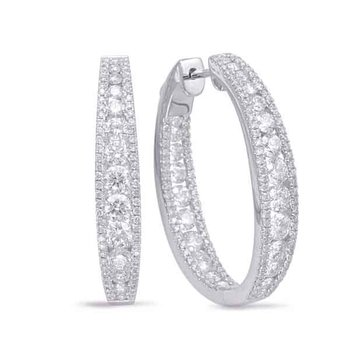 White Gold Diamond Hoop Earring