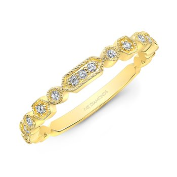 Yellow Gold Milgrain Stackable Band