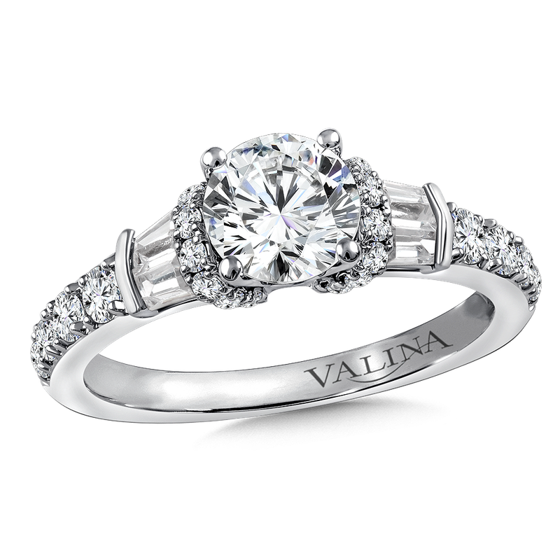 Valina Diamond Engagement Ring Mounting in 14K White Gold (.64 ct. tw.)