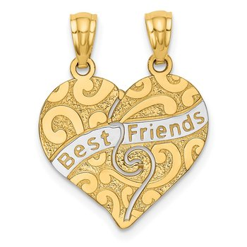 14K w/Rhodium Break Apart BEST FRIENDS Heart Pendant