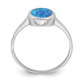 Sterling Silver Rhodium-plated Polished Round Synthetic Opal Ring