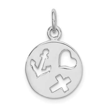 Sterling Silver Rhodium-plated Cut-out Heart, Cross, Anchor Charm