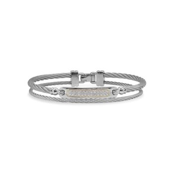 Grey Cable ID Bracelet with 18kt Yellow Gold & Diamonds