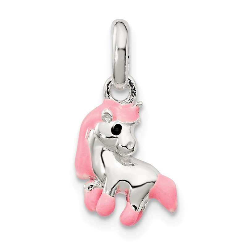 Quality Gold Sterling Silver Pink Enamel Kid's Horse Pendant