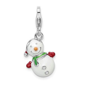 Sterling Silver Enameled w/Swarovski 3D Snowman Lobster Clasp Charm