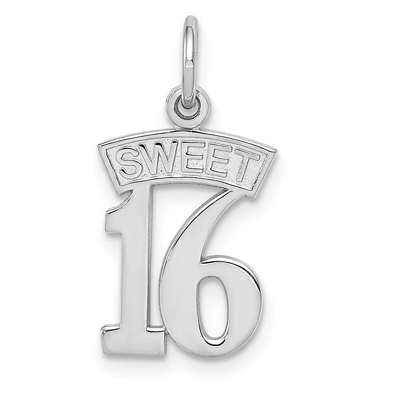 Quality Gold 14k White Gold SWEET 16 Charm
