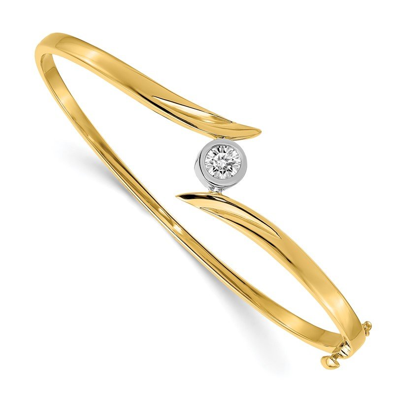 Quality Gold 14k Two-tone AA Diamond Hinged Bangle