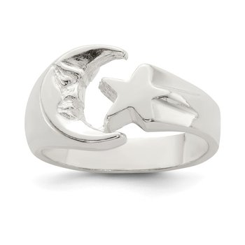 Sterling Silver Moon & Star Ring