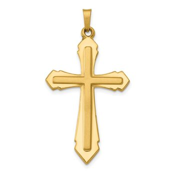 14k Polished and Satin Passion Cross Pendant
