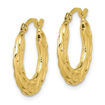 10k Patterned Hollow Hoop Earrings