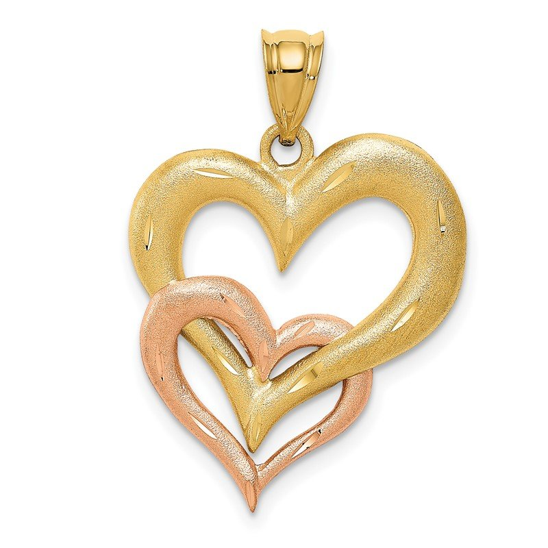 Quality Gold 14K Two-tone Satin D/C Double Heart Pendant