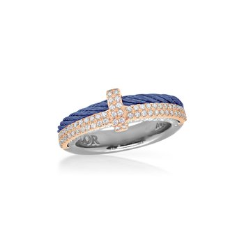 Blueberry Cable Petite Opulence Ring with 18kt Rose Gold & Diamonds