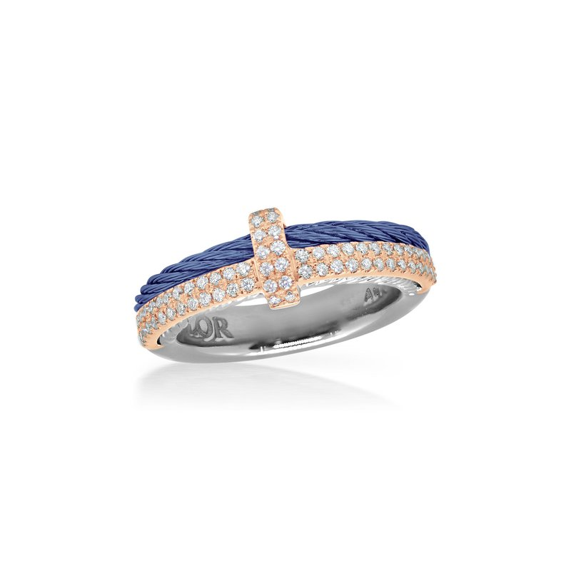 ALOR Blueberry Cable Petite Opulence Ring with 18kt Rose Gold & Diamonds