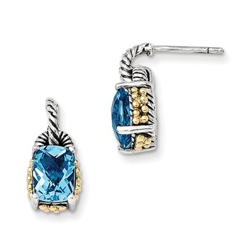 Sterling Silver w/14k Sky Blue Topaz Earrings