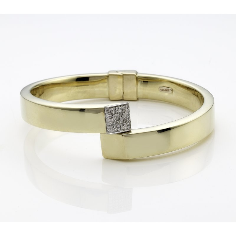 Rudolf Friedmann Yellow Gold Bangle Bracelet with Pave Diamond