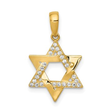 14k Polished CZ Star of David Pendant