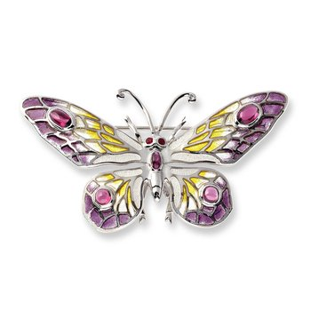 Purple Butterfly Brooch-Pendant.Sterling Silver-Rubies and Rhodolite