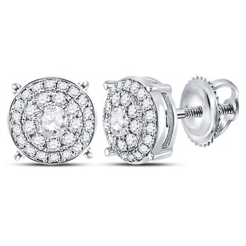 14kt White Gold Womens Round Diamond Concentric Circle Cluster Earrings 1/2 Cttw