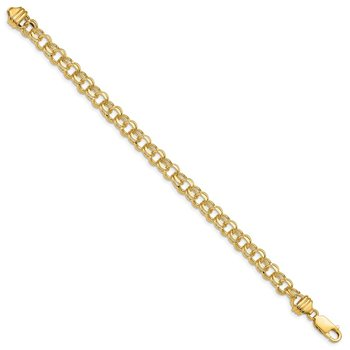 14k 7in 6.5mm Solid Double Link Charm Bracelet