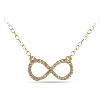 10K YG and diamond Infinity Necklace in prong setting with cable chain