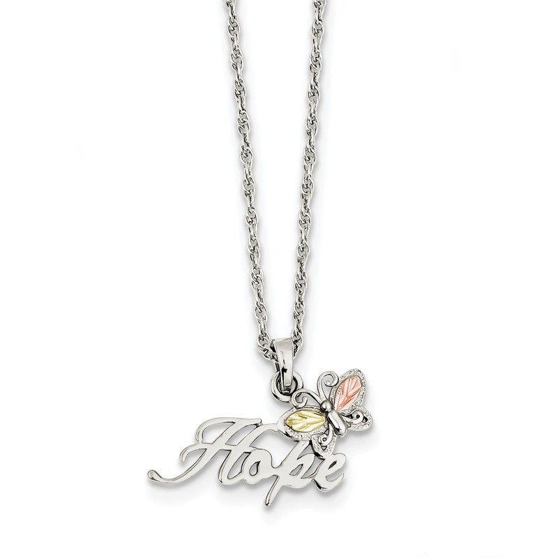 Quality Gold Sterling Silver & 12K Butterfly Hope Necklace