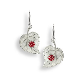 White Ladybug Wire Earrings.Sterling Silver-White Sapphires