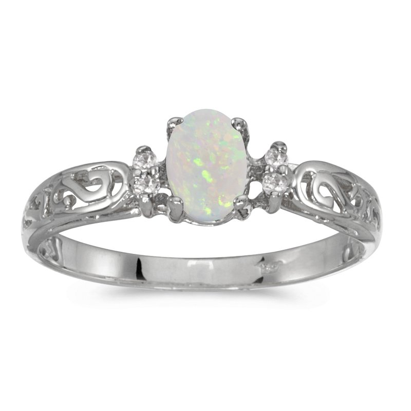 Color Merchants 14k White Gold Oval Opal And Diamond Filagree Ring